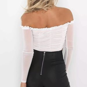 Tops - Ruched white bow top long sleeve crop shirt sheer